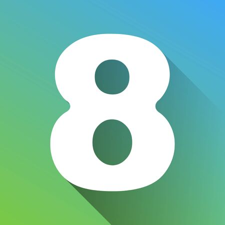 Number 8 sign design template element. White Icon with gray dropped limitless shadow on green to blue background.