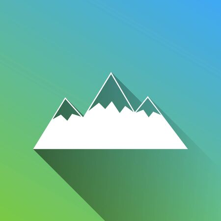 Mountain sign illustration. White Icon with gray dropped limitless shadow on green to blue background.