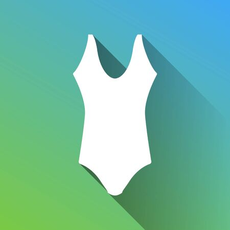 Woman's swimsuit sign. White Icon with gray dropped limitless shadow on green to blue background. Illustration