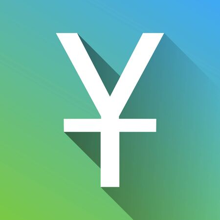 Chinese Yuan sign. White Icon with gray dropped limitless shadow on green to blue background.