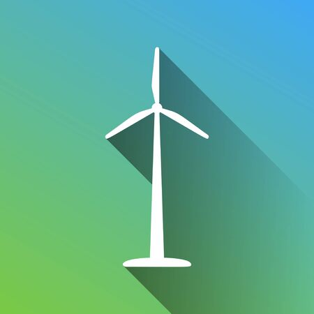 Wind turbine logo or sign. White Icon with gray dropped limitless shadow on green to blue background.