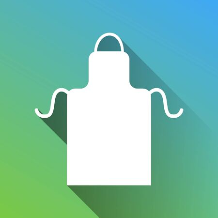 Apron simple sign. White Icon with gray dropped limitless shadow on green to blue background. Ilustrace