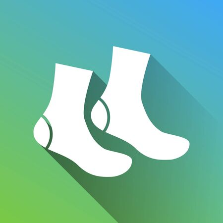 Socks sign. White Icon with gray dropped limitless shadow on green to blue background. Illustration