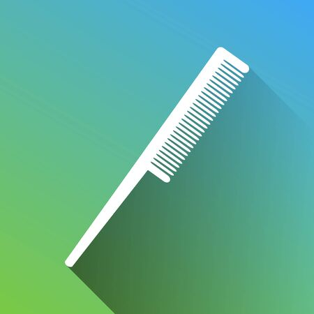 Comb sign. White Icon with gray dropped limitless shadow on green to blue background. 向量圖像