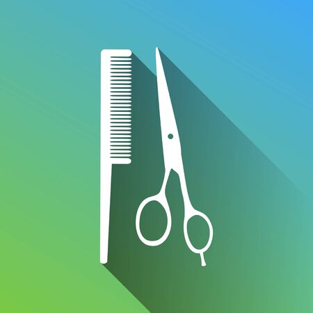 Barber shop sign. White Icon with gray dropped limitless shadow on green to blue background.