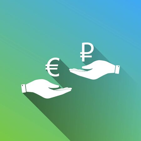 Currency exchange from hand to hand. Euro and Ruble. White Icon with gray dropped limitless shadow on green to blue background.