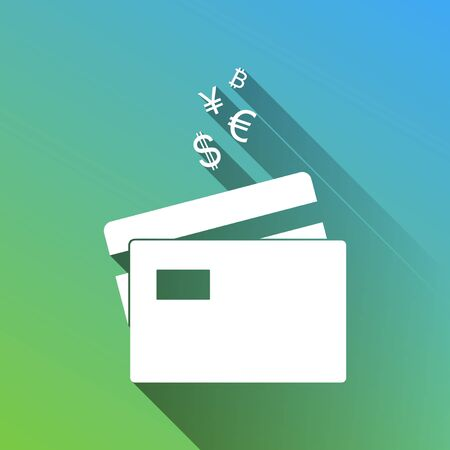 Credit cards sign with currency symbols. White Icon with gray dropped limitless shadow on green to blue background. Ilustração