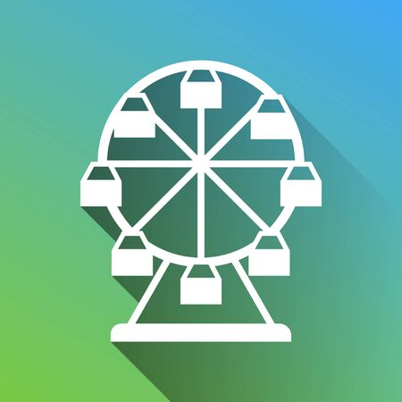 Ferris wheel sign. White Icon with gray dropped limitless shadow on green to blue background.