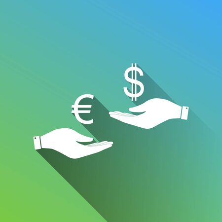 Currency exchange from hand to hand. Euro and Dollar. White Icon with gray dropped limitless shadow on green to blue background.