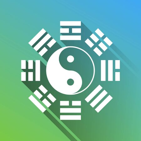 Yin and yang sign with bagua arrangement. White Icon with gray dropped limitless shadow on green to blue background. Vecteurs