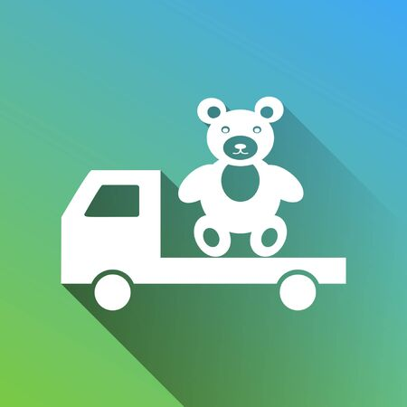 Truck with bear. White Icon with gray dropped limitless shadow on green to blue background.