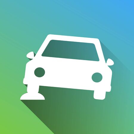 Car parking sign. White Icon with gray dropped limitless shadow on green to blue background. Illustration