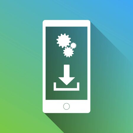 Phone settings. Download and install apps. White Icon with gray dropped limitless shadow on green to blue background.
