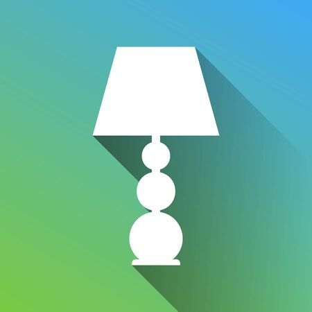 Lamp sign illustration. White Icon with gray dropped limitless shadow on green to blue background.