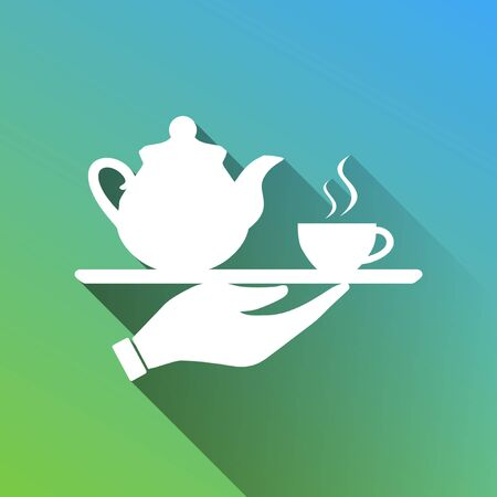 Hand with cup of coffee or tea sign illustration. White Icon with gray dropped limitless shadow on green to blue background.