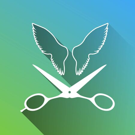 Wings and scissors sign. White Icon with gray dropped limitless shadow on green to blue background.