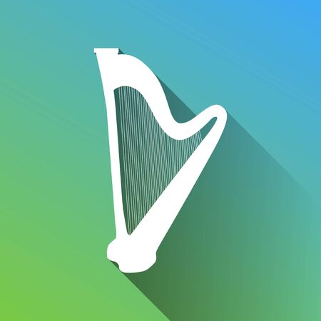 Musical instrument harp sign. White Icon with gray dropped limitless shadow on green to blue background.