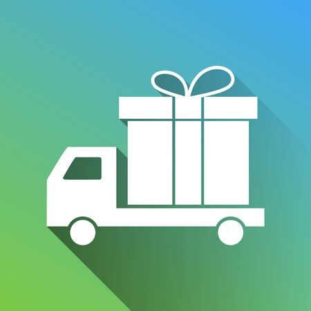 Delivery gift sign. White Icon with gray dropped limitless shadow on green to blue background.
