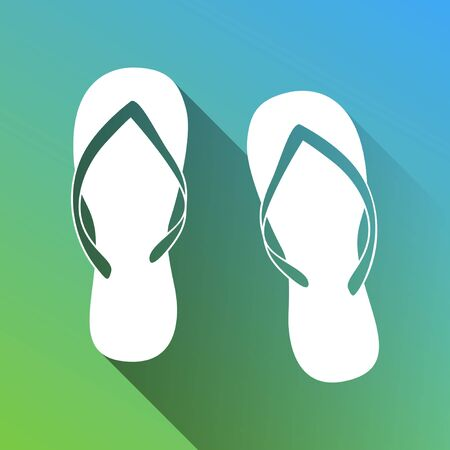 Flip flop sign. White Icon with gray dropped limitless shadow on green to blue background. Ilustracja