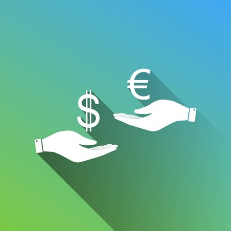 Currency exchange from hand to hand. Dollar adn Euro. White Icon with gray dropped limitless shadow on green to blue background.