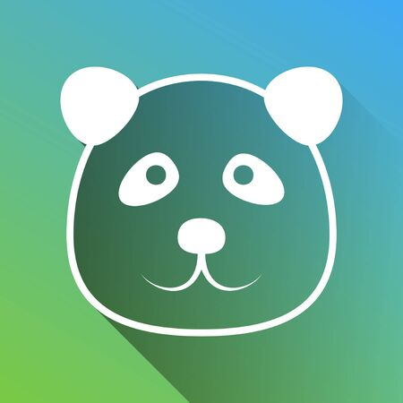 Panda sign illustration. White Icon with gray dropped limitless shadow on green to blue background. Vettoriali