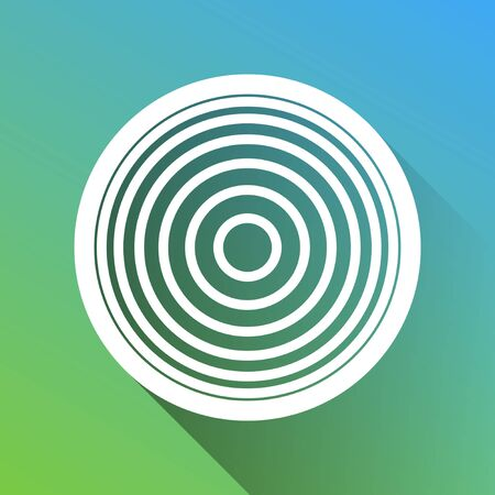 Meridians from top view. White Icon with gray dropped limitless shadow on green to blue background.