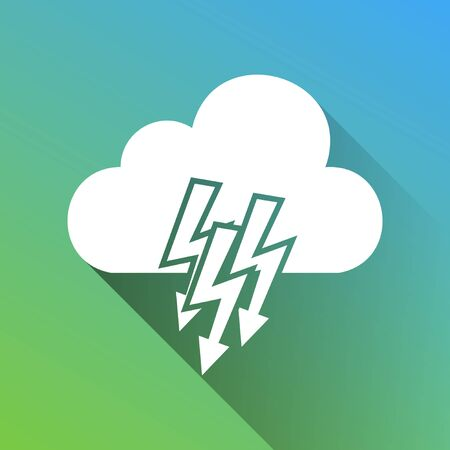 Cloud with lightning icon. White Icon with gray dropped limitless shadow on green to blue background.