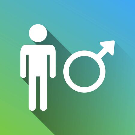 Male sign illustration. White Icon with gray dropped limitless shadow on green to blue background.
