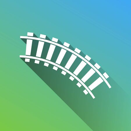 Railway sign. Curved track. White Icon with gray dropped limitless shadow on green to blue background. Illustration