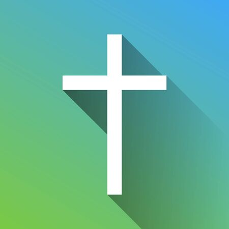 Cross sign. White Icon with gray dropped limitless shadow on green to blue background.