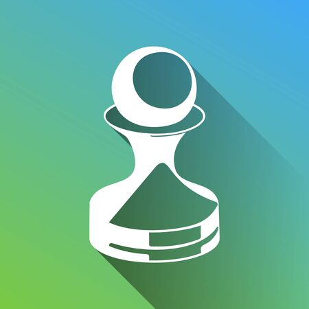 Chess figures sign. White Icon with gray dropped limitless shadow on green to blue background. Illustration