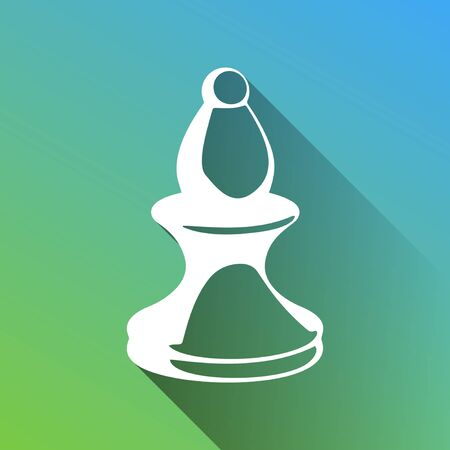 Chess figures sign. White Icon with gray dropped limitless shadow on green to blue background.