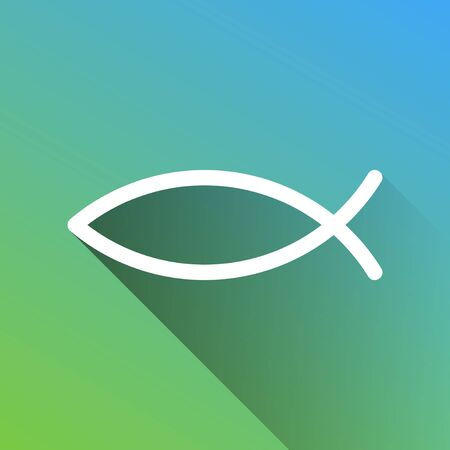 Christian symbol fish sign. White Icon with gray dropped limitless shadow on green to blue background. Иллюстрация