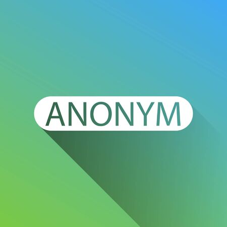 Anonym, Unknown person sign. White Icon with gray dropped limitless shadow on green to blue background.