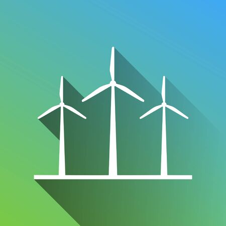 Wind turbines sign. White Icon with gray dropped limitless shadow on green to blue background. Ilustrace