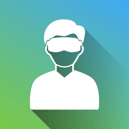 Man with sleeping mask sign. White Icon with gray dropped limitless shadow on green to blue background. 版權商用圖片 - 147125333
