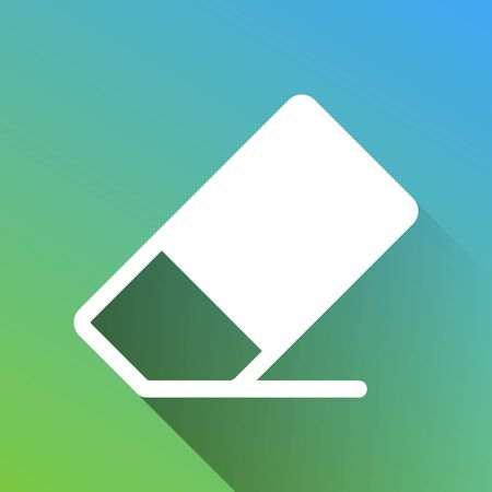 Eraser sign. White Icon with gray dropped limitless shadow on green to blue background. Иллюстрация