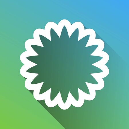 Mandala geometry sign. White Icon with gray dropped limitless shadow on green to blue background.