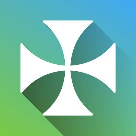 Maltese cross sign. White Icon with gray dropped limitless shadow on green to blue background. Иллюстрация