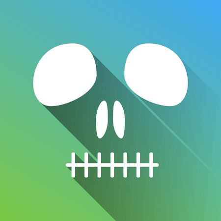 Death skull sign. White Icon with gray dropped limitless shadow on green to blue background.