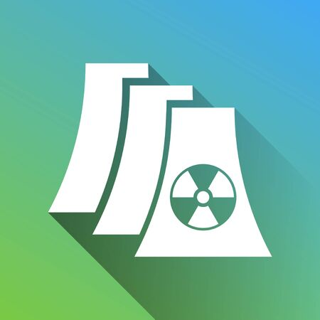 Nuclear power plant sign. White Icon with gray dropped limitless shadow on green to blue background.