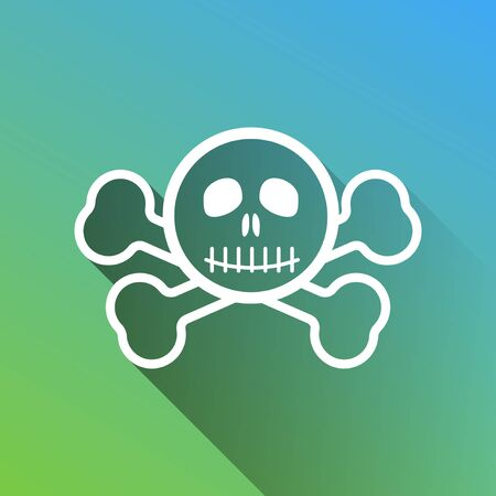 Crossbones sign. White Icon with gray dropped limitless shadow on green to blue background.