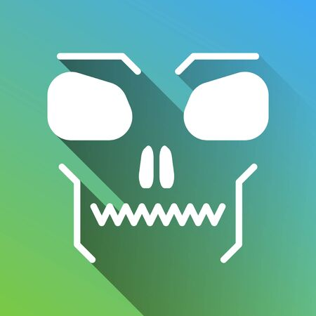Skull sign. White Icon with gray dropped limitless shadow on green to blue background.
