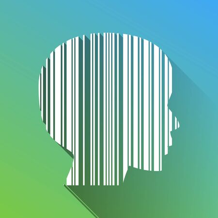 Face Barcode sign. White Icon with gray dropped limitless shadow on green to blue background.