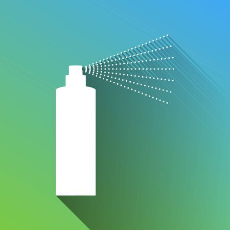 Bottle spray sign. White Icon with gray dropped limitless shadow on green to blue background.
