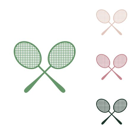 Two tennis racket sign. Russian green icon with small jungle green, puce and desert sand ones on white background.