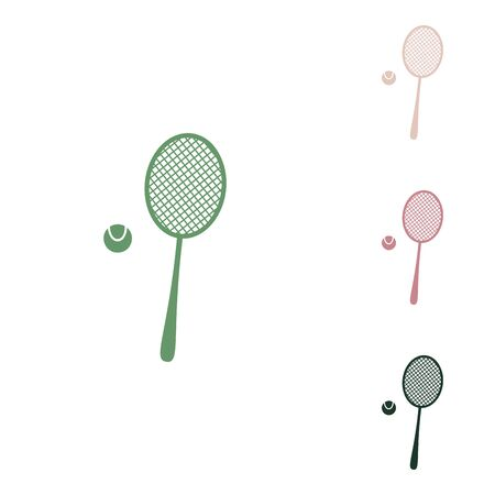 Tennis racquet with ball sign. Russian green icon with small jungle green, puce and desert sand ones on white background. Ilustração