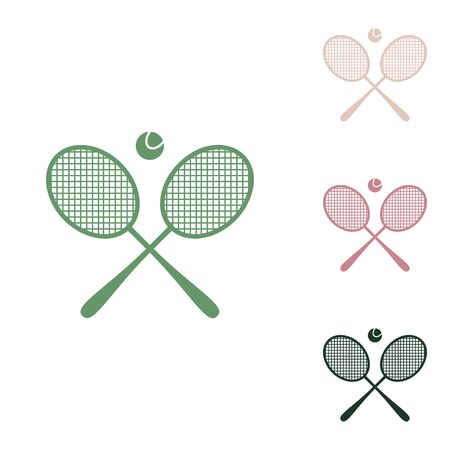 Two tennis racket with ball sign. Russian green icon with small jungle green, puce and desert sand ones on white background. Ilustração