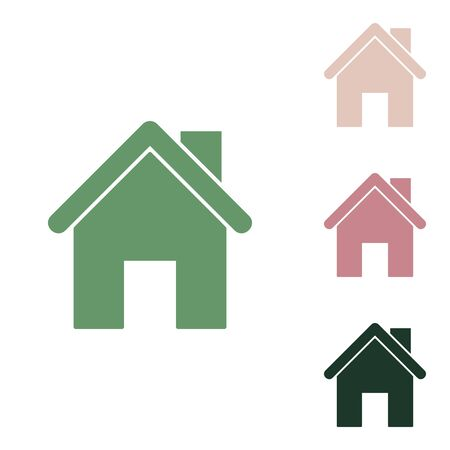 Home silhouette illustration. Russian green icon with small jungle green, puce and desert sand ones on white background.