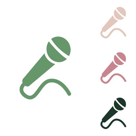 Microphone sign illustration. Russian green icon with small jungle green, puce and desert sand ones on white background.
